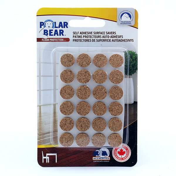 Self adhesive cork discs